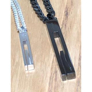 グッチ(Gucci)のGUCCI グッチ ネックレス ブラック シルバー Gカット 2本セット 喜平(ネックレス)
