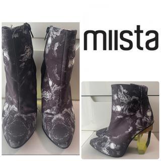 miista ブラックフラワー クリアヒール ブーツ