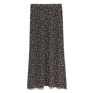 FRAY I.D - フラワープリントナロースカート 黒