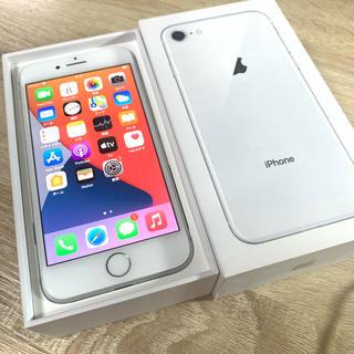 iPhone - iPhone8 Silver 64GB SIMフリー 保護ガラスクリアケース付