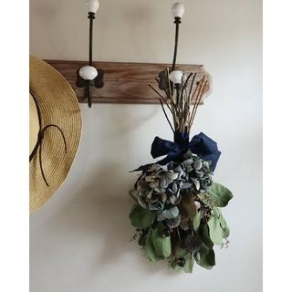 青い紫陽花とポポラスの夏の涼しげなスワッグ*ドライフラワースワッグ・(ドライフラワー)
