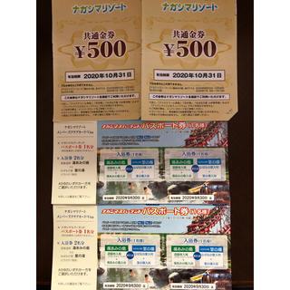 ナガシマスパーランド  パスポート 2枚 金券500円2枚(遊園地/テーマパーク)
