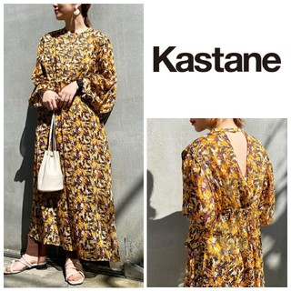 Kastane - 人気完売♡新品タグ付き ペイント柄シアーワンピース オレンジ カスタネ