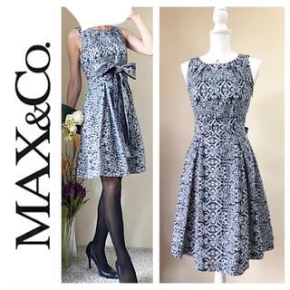 マックスアンドコー(Max & Co.)のMax&Co. マックス&コー ウエストリボン ワンピース ネイビー ドレス M(ひざ丈ワンピース)