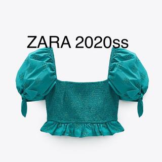 ZARA - ZARA ザラ 2020ss パーフォレーション刺繍 トップス クロップトップス