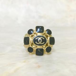 CHANEL - 正規品 シャネル 指輪 ゴールド ココマーク ブラック ストーン 石ロゴ リング