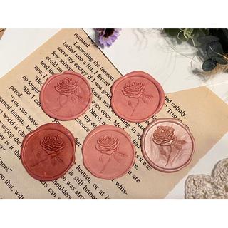 封蝋*antique rose*シーリングスタンプ**ピンク系マーブルmix5枚