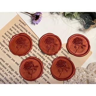 封蝋*antique rose*シーリングスタンプ**赤5枚(カード/レター/ラッピング)