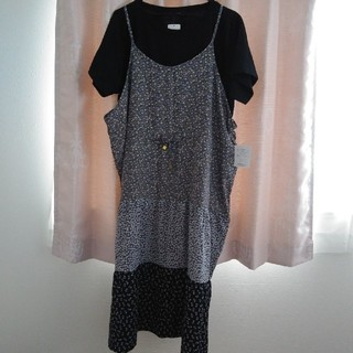 シマムラ(しまむら)のキャミ切替マキシワンピース+黒Tシャツ2点セット商品🌈大きいサイズ(アンサンブル)