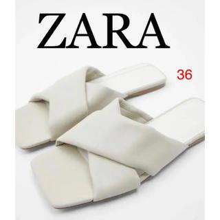 ZARA - ZARA パッド入りレザーサンダル 100%革