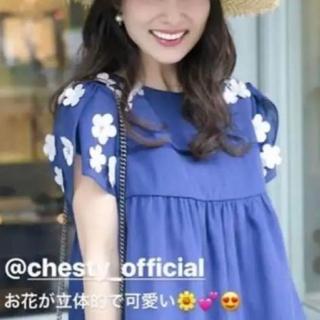 Chesty - ☆新品同様☆レア☆チェスティ☆お花ブラウス☆ネイビー☆1☆