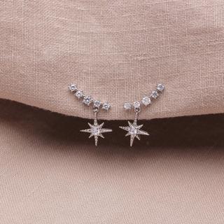 STAR JEWELRY - silver star zirconia pierce ◯s925 post