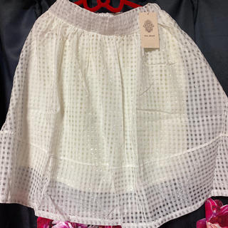 ブージュルード(Bou Jeloud)のブージュルードBou Jeloud白ホワイト透け柄チュールスカートrady(ひざ丈スカート)