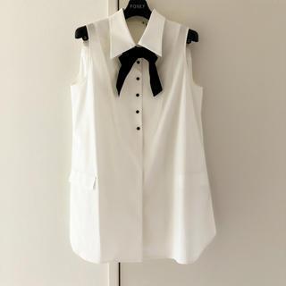 FOXEY - FOXEY NY リボンAライン ロングシャツ 42 フォクシーニューヨーク
