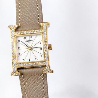 エルメス(Hermes)の【仕上済】エルメス Hウォッチ ゴールド ダイヤ レディース 腕時計(腕時計)