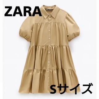ZARA - 【人気商品】2020ss 今季 ZARA フレアーワンピース Sサイズ キャメル