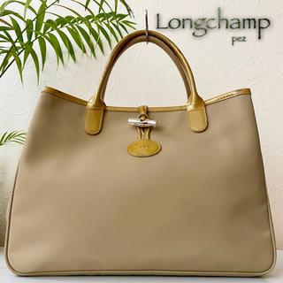 ロンシャン(LONGCHAMP)の美品 Longchamp ロンシャン ロゾ 4万 エナメルレザートートバッグ 鞄(トートバッグ)
