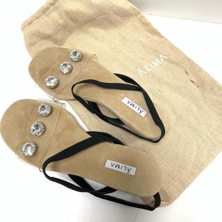 アリマ(ALIMA)のALIMA クリアサンダル ビジュー可愛い ペッタンコサンダル 保存袋付き旅行に(サンダル)