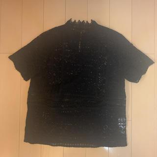 ラグナムーン(LagunaMoon)のレース ブラック ハイネック ブラウス(Tシャツ(半袖/袖なし))