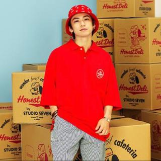 ジーユー(GU)の赤 レッド XXL gu studio seven big polo (5分袖)(ポロシャツ)