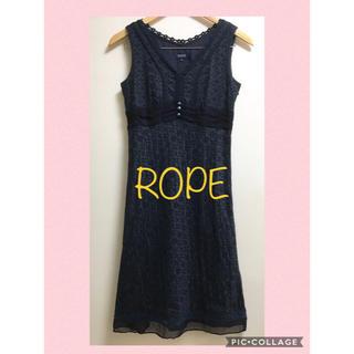 ROPE - 美品 ROPE コットン刺繍ワンピース 9 M ネイビー シルク ノースリーブ