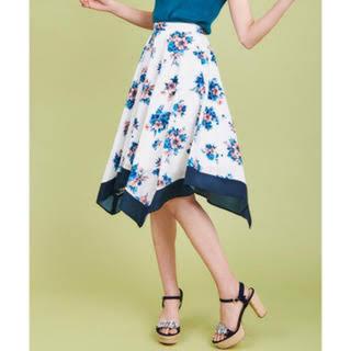 31 Sons de mode - 【31 sons de mode】 花柄 スカーフ ネイビー スカート