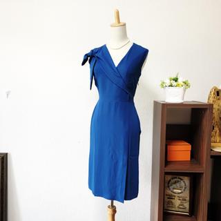 FENDI - 美品 フェンディ   ロイヤルブルー ショルダー おりぼん  ワンピース ドレス