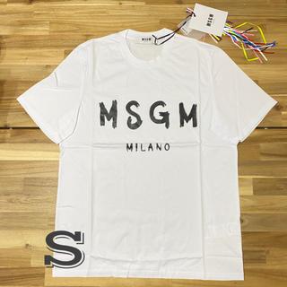 エムエスジイエム(MSGM)の新品 MSGM エムエスジーエム メンズ ロゴTシャツ 半袖 ホワイト 白 S(Tシャツ/カットソー(半袖/袖なし))