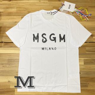 エムエスジイエム(MSGM)の新品 MSGM エムエスジーエム メンズ ロゴTシャツ ホワイト 半袖 白 M(Tシャツ/カットソー(半袖/袖なし))