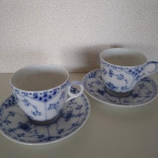 ロイヤルコペンハーゲン(ROYAL COPENHAGEN)の☆ロイヤルコペンハーゲン・ブルーフルーテッドハーフレース・コーヒーカップ2客☆(食器)