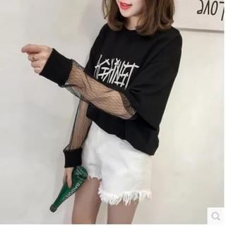【見逃し厳禁!】 韓国ファッション シースルー 長袖Tシャツ  夏コーデ 黒