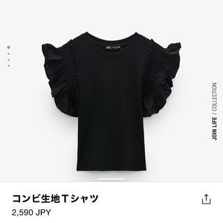 ZARA - 【ZARA】Tシャツ(ブラック/サイズM/美品)