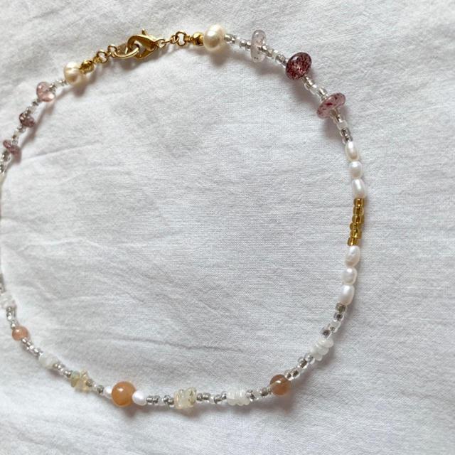 Glass beads choker necklace No.31 ハンドメイドのアクセサリー(ネックレス)の商品写真