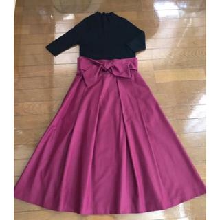 トゥモローランド(TOMORROWLAND)の最終値下げ 美品 Tiara ウエストリボン フレアスカート(ロングスカート)