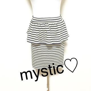 mystic - mystic☆ペプラムフリルモノトーンボーダータイトスカート