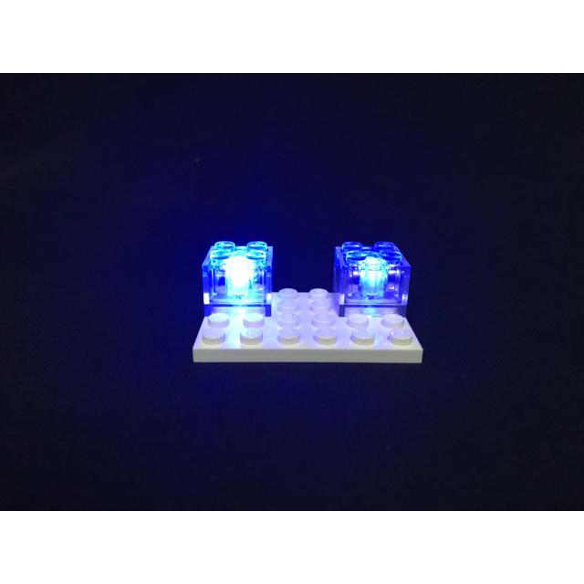 マイクラ レゴ 互換品 LEDライトブロック 赤⇔青 交互点滅 2piece キッズ/ベビー/マタニティのおもちゃ(積み木/ブロック)の商品写真