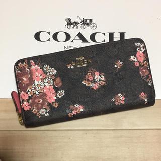 COACH - 新品 [COACH コーチ] 長財布 ピンクの花柄 ブラウン