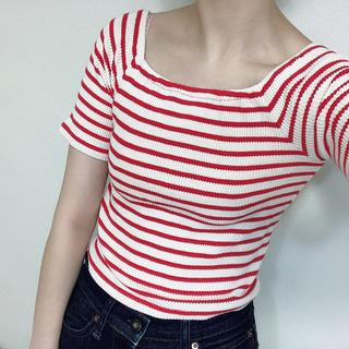 リリーブラウン(Lily Brown)のリリーブラウン ボーダー Tシャツ ワッフルT(Tシャツ(半袖/袖なし))