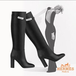 Hermes - エルメス  ケリーブーツ ストーリー ブラック シルバー金具