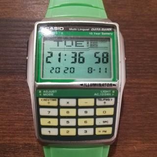 カシオ(CASIO)のCASIODATABANK DBC-32C-3BJF  グリーン データバンク(腕時計(デジタル))