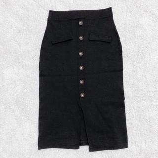 フロントスリット×飾りボタン付きミディ丈タイトスカート 黒 AZUL系