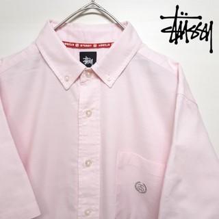 STUSSY - STUSSY ステューシー ボタンダウン 半袖 シャツ シャネルロゴ ピンク S