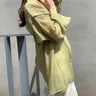 Kastane - ノーカラー透けビッグシャツ/透けシャツ/シアーシャツ