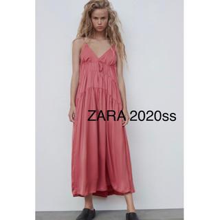 ザラ(ZARA)の新品タグ付き ZARA 2020ss  サテン地ワンピース ピンク(ロングワンピース/マキシワンピース)