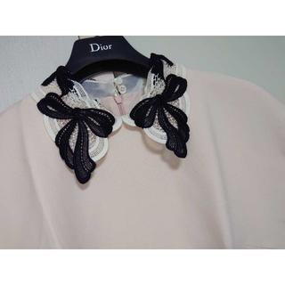 ミュウミュウ(miumiu)のmiu miu リボン刺繍 ワンピース  ピンク(ミニワンピース)