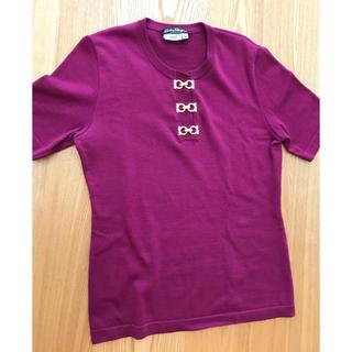 Salvatore Ferragamo - フェラガモ ニット トップス 半袖 M 紫 パープル シャツ