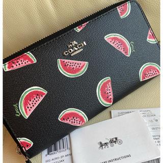 COACH - 【新品】COACH コーチ 新作 ブラック♡スイカ柄 長財布