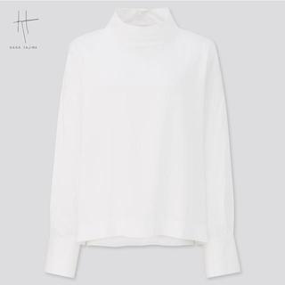 UNIQLO - 新品 ユニクロ ハナタジマ レーヨンモックネックブラウス 長袖 白 Mサイズ