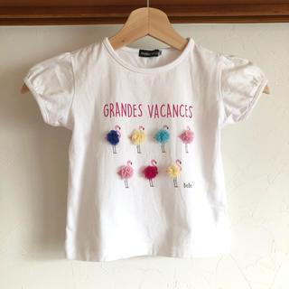 ベベ(BeBe)のBeBe べべ Tシャツ 110 ポンポン チュール シフォン (Tシャツ/カットソー)