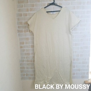 ブラックバイマウジー(BLACK by moussy)のBLACKBYMOUSSYスリット入 ロングカットソー(ロングワンピース/マキシワンピース)